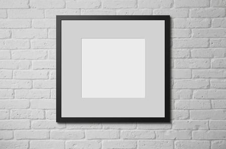 black block: Marco en blanco en la pared de ladrillo con copia espacio y camino de recortes para el interior Foto de archivo