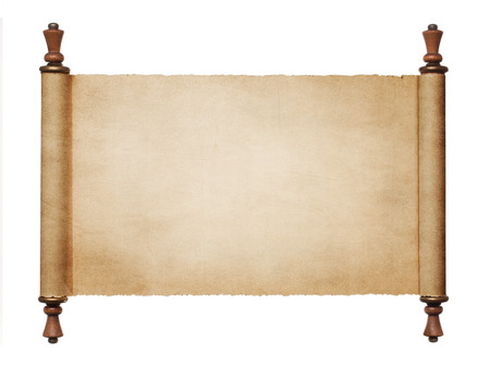 고대: 흰색 배경 복사 공간에 고립 된 빈티지 빈 종이 스크롤