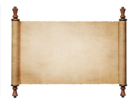 pergamino: Vintage rollo de papel en blanco sobre fondo blanco, con copia espacio