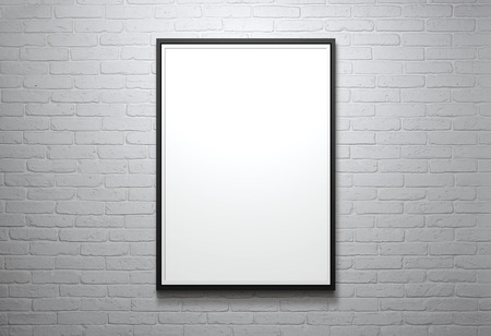 Blank picture frame at the brick wall with copy space and clipping path for the inside photo