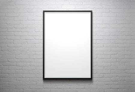 marcos cuadros: Marco en blanco en la pared de ladrillo con copia espacio y camino de recortes para el interior Foto de archivo