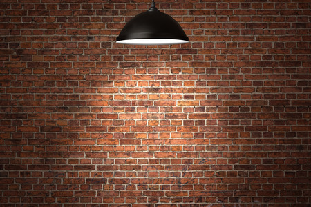 Grunge red brick wall background with copy space photo