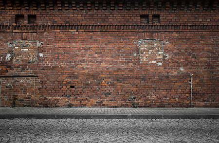 urban road: Industrial building wall background