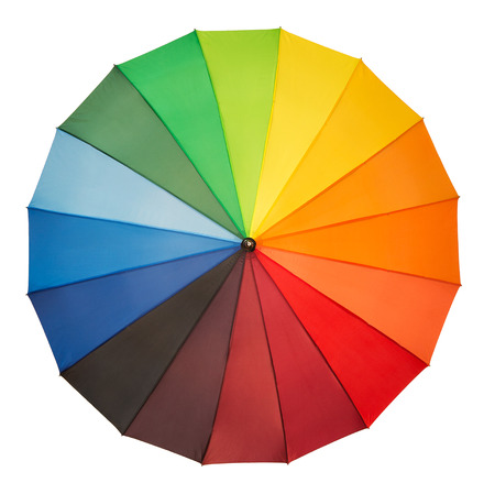top angle view: High angle view of colorful umbrella isolated on white background