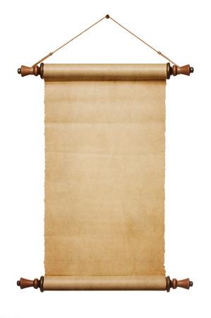 diploma: Vintage rollo de papel en blanco sobre fondo blanco, con copia espacio
