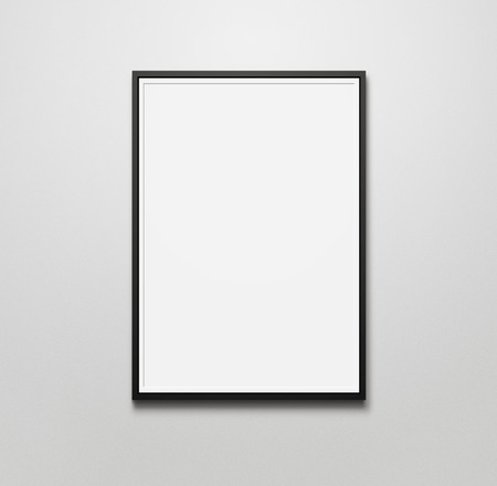 Blank picture frame at the wall with copy space and clipping path for the inside