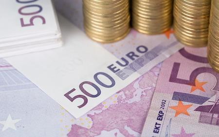 Besparingen, close-up van Europese munt