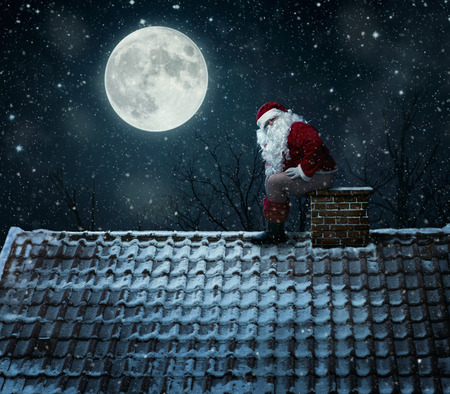 Close up of mean santa using chimney as a toilet
