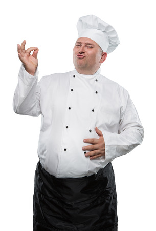 chefs show: Funny overweight chef showing ok isolated on white background