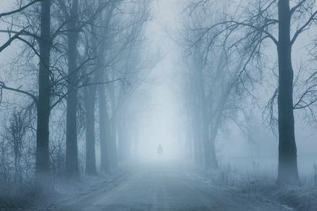 Silhouet van een eenzame man die op de mistige weg Stockfoto