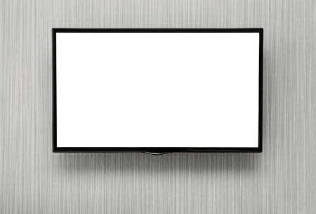 tv screen: Blank lcd TV hanging at the wall with copy space  Stock Photo