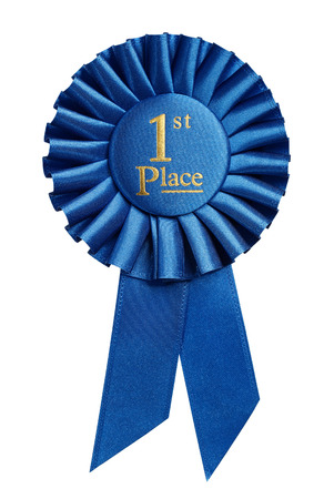 blue ribbon: First place award, rosette isolated on white background
