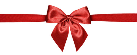 Close up of red ribbon isolated on white background