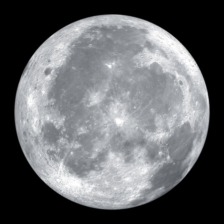 full: Close up of moon isolated on black background Stock Photo