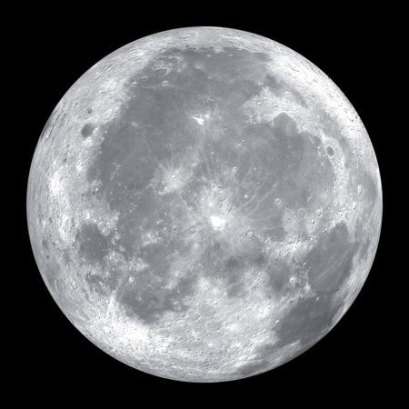Schließen Sie oben vom Mond auf schwarzem Hintergrund isoliert