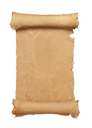 treasure map: Vintage rollo de papel en blanco sobre fondo blanco con espacio de copia