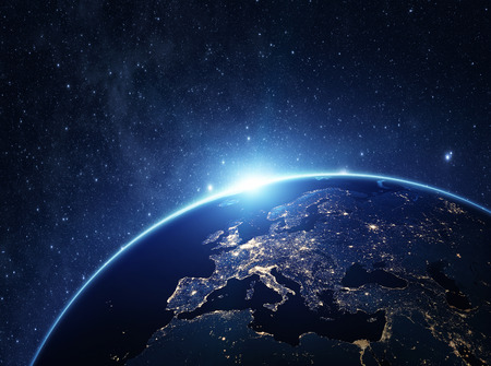 globe map: Planet earth from the space at night . Some elements of this image furnished by NASA