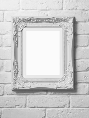 white interior: Close up of blank picture frame at the brick wall with clipping path Stock Photo