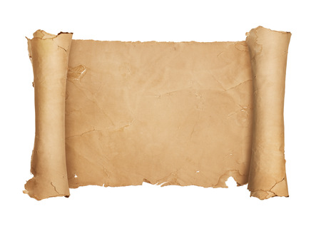 ancient papyrus: Vintage blank paper scroll isolated on white background with copy space