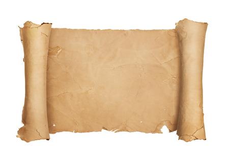 papier a lettre: Vintage vierge d�filement de papier isol� sur fond blanc avec copie espace