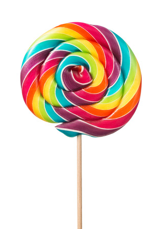 Close up of colorful, handmade swirl lollipop isolated on white background