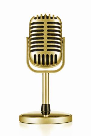 mic: Music award, vintage gold microphone isolated on white  Stock Photo