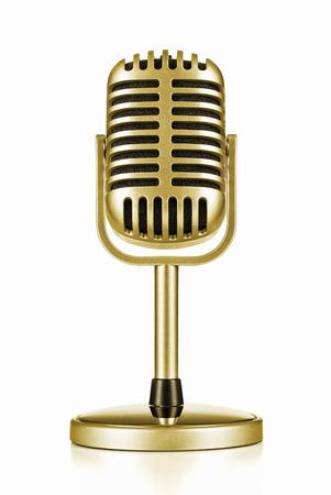 microfono antiguo: Premio de la cultura, el micrófono de oro de la vendimia aislado en blanco Foto de archivo