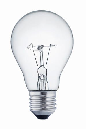 Close up of a light bulb isolated on white background