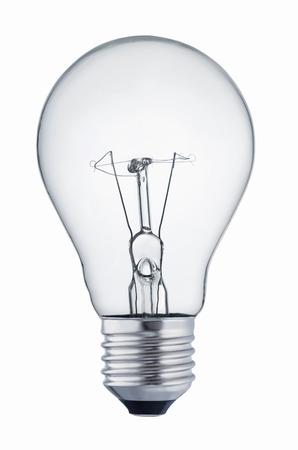 Nahaufnahme einer Glühbirne isoliert auf weißem Hintergrund