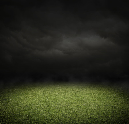 Soccer or football field at night with copy space Stock Photo