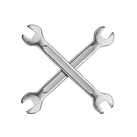 tweak: Under construction, two silver wrenches isolated on white background