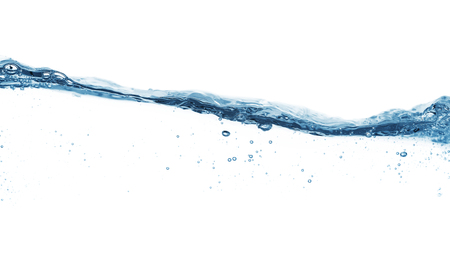 Close up of water surface isolated on white background with copy space