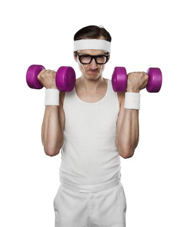 Lustige Sport Nerd Aufhebung Gewichte auf weißem Hintergrund Lizenzfreie Bilder - 49165554