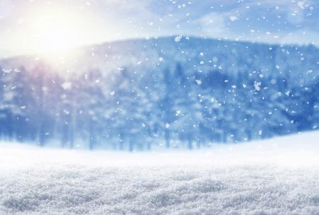 paisajes: Fondo del invierno, la nieve que cae sobre el paisaje de invierno con el espacio de la copia Foto de archivo