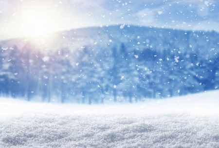morning: Winter background, falling snow over winter landscape with copy space