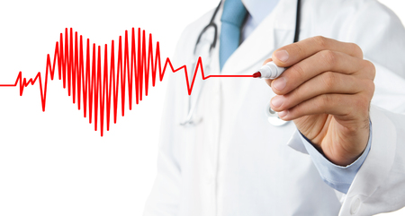 listening to heartbeat: Doctor drawing heart beat symbol Stock Photo