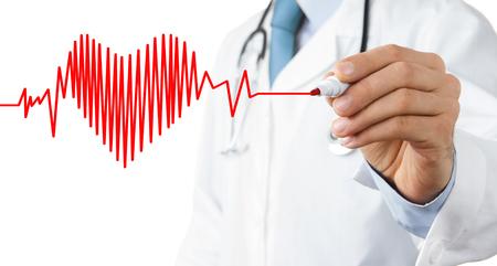 Doctor drawing heart beat symbol Foto de archivo