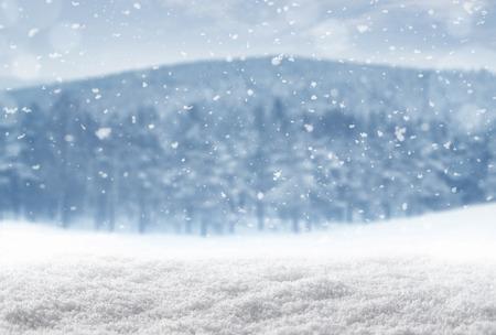 frio: Fondo del invierno, la nieve que cae sobre el paisaje de invierno con el espacio de la copia Foto de archivo