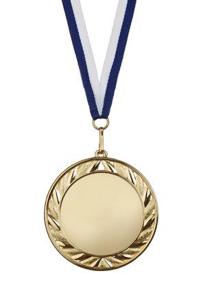 복사 공간 흰색 배경에 고립 된 빈 금메달