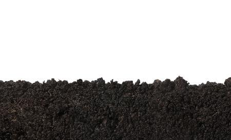 土壤表面的側視圖,質地白色背景