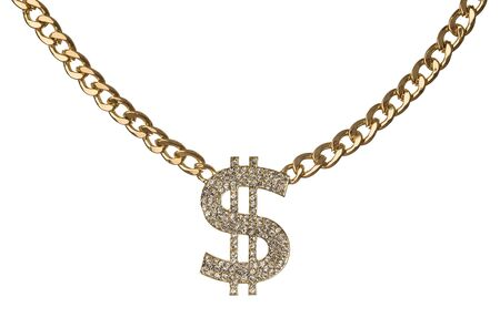 Necklace of dollar symbol with golden chain isolated on white background Foto de archivo