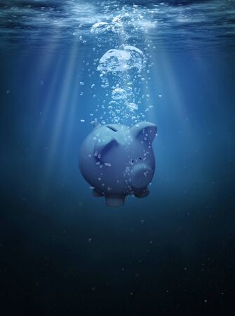 under water: Crisis concept, drowning piggy bank with copy space