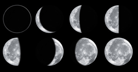 Set of different moon phases isolated on black background