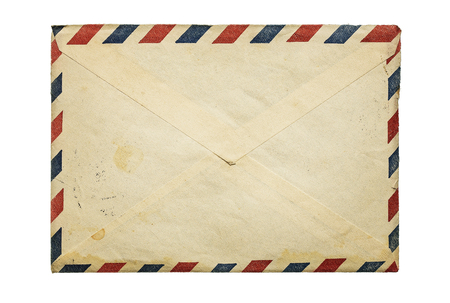 emails: Old, vintage envelope isolated on white background with copy space