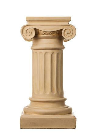 built tower: Ancient column isolated on white background