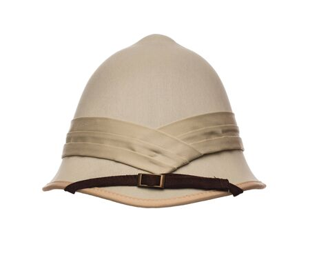 médula: Colonial style, safari, pith hat isolated on white background Foto de archivo