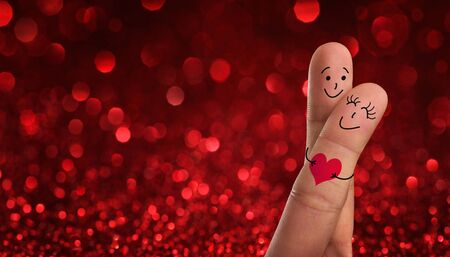 Valentines day, wedding concept. Painted fingers pretending happy couple in love with copy space Stock Photo