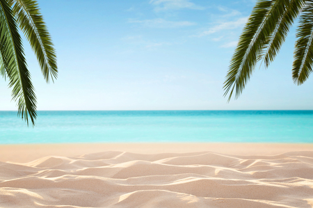 Empty, defocused tropical beach background with copy space Archivio Fotografico