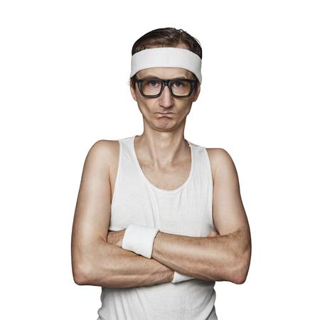 tough: Funny sport nerd pretending tough guy isolated on white background