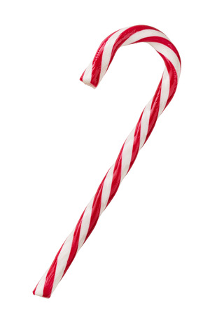 Close up of candy cane isolated on white background Foto de archivo